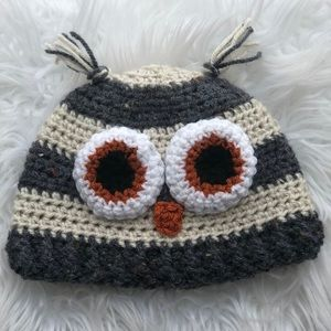 Other - Crochet owl hat- size 12-24 month